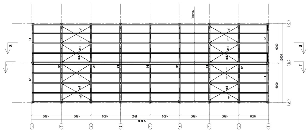 Конструктивная схема покрытия